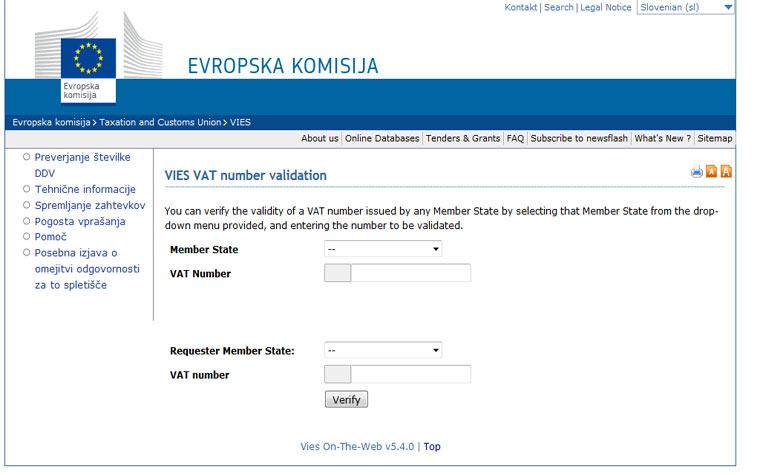 Preveri VAT številko – VIES